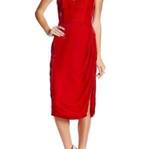 $175 NBD STRAPLESS DEEP V-NECK DRESS RED XS